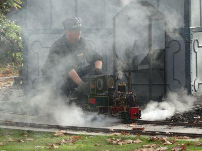 El vapor de la locomotora y el humo de la olla ferroviaria dejaron imágenes como esta