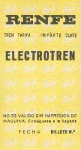 Billete para automotor eléctrico en primera clase. Primera serie.
