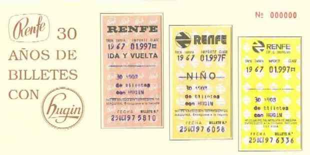 "Tarjetón ""30 años de Hugin en Renfe"""