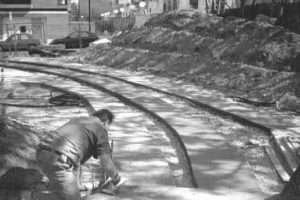 Instalación de la losa de la vía