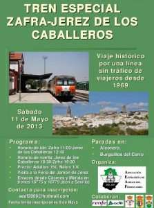 Cartel viaje Zafra-Jerez de los Caballeros 2013.