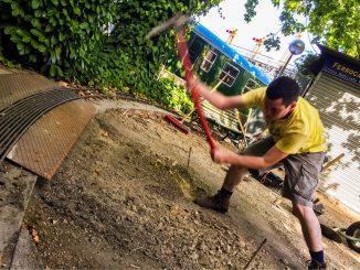 Excavación para la rampa de acceso al parque