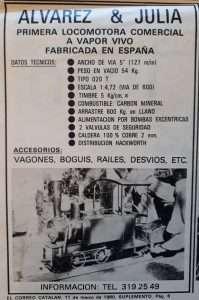Anuncio de 1980 de locomotoras de Álvarez y Juliá.
