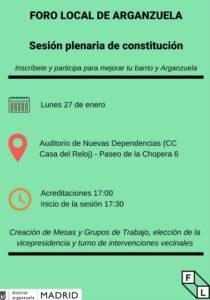 Cartel de reconstitución del Foro Local de Arganzuela